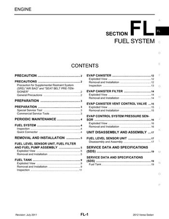 2012 nissan versa - fuel system (section fl) (19 pages)