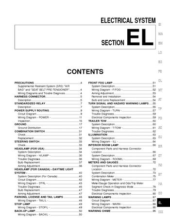 ... electrical system section el pdf manual rh carmanuals2 com 2000 nissan xterra power window wiring diagram 2000 nissan frontier wiring diagram stereo