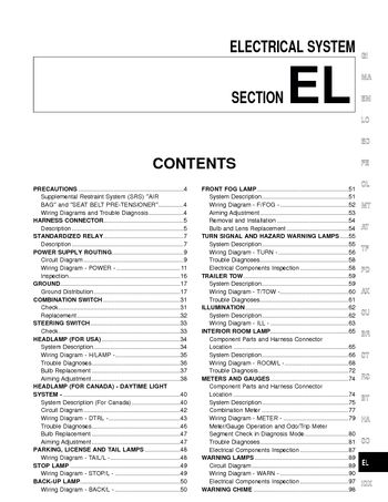 2001 nissan xterra - electrical system (section el) (268 pages)