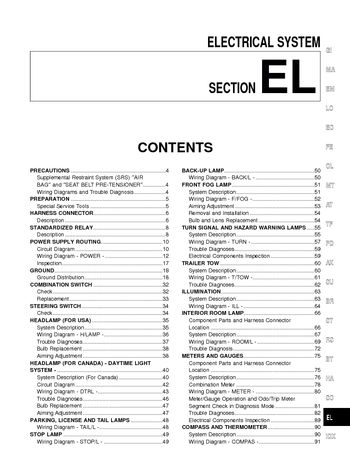 i2 2002 nissan xterra electrical system (section el) pdf manual 2004 nissan xterra wiring diagram at soozxer.org