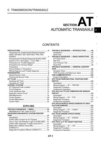 2001 nissan x-trail - automatic transmission (section at) (532 pages)