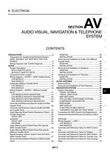 2004 Nissan X-Trail - Audio Visual System (Section AV) - PDF Manual on