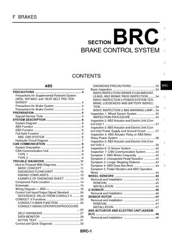 nissan x trail brake control system section brc pdf 2004 nissan x trail brake control system section brc 122 pages