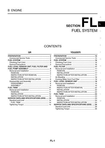 2004 nissan x-trail - fuel system (section fl) (26 pages)