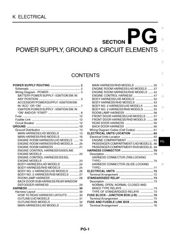 i2 2004 nissan x trail power supply, ground & circuit elements nissan x trail t30 wiring diagram at gsmx.co