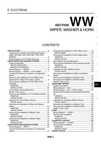 2005 Nissan XTrail Wiper Washer Section WW PDF Manual 32 Pages