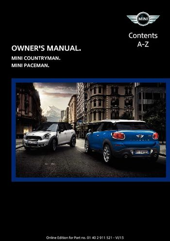2014 mini countryman owner s manual pdf 218 pages rh carmanuals2 com 2011 mini cooper countryman owners manual pdf Mini Countryman 2017