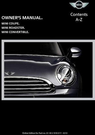 2013 mini roadster owner s manual pdf 292 pages rh carmanuals2 com service manual mini cooper s download service manual mini cooper s download