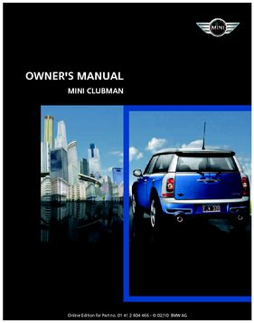 2010 mini clubman owner s manual mini connected pdf 218 pages rh carmanuals2 com 2010 mini cooper owners manual 2010 mini clubman owners manual