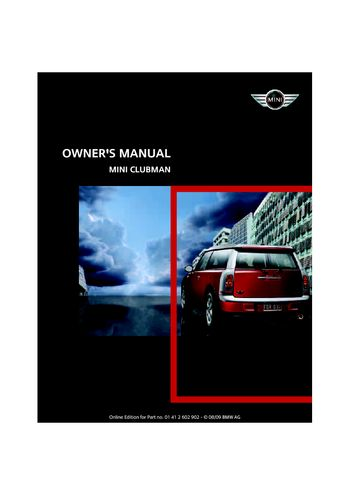 2010 Mini Clubman Owners Manual Pdf 160 Pages