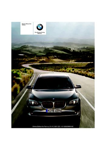 2009 Bmw 750li Owner S Manual Pdf 277 Pages