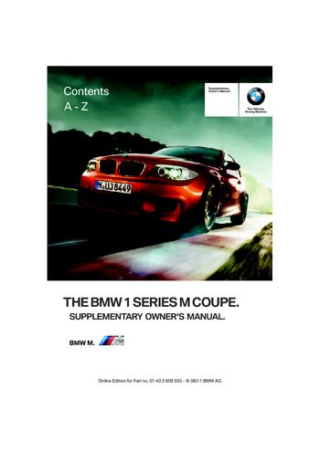 2011 bmw 1 series m coupe owner s manual pdf 48 pages rh carmanuals2 com service manual bmw 1 series bmw 1 series owners manual 2014