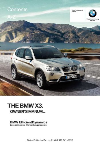 2014 bmw x3 xdrive28i owner s manual pdf 208 pages rh carmanuals2 com 2014 bmw x3 user manual 2014 bmw x3 user manual