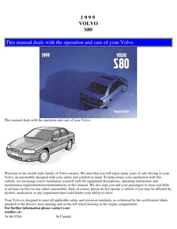 1999 volvo s80 owner s manual pdf 96 pages rh carmanuals2 com