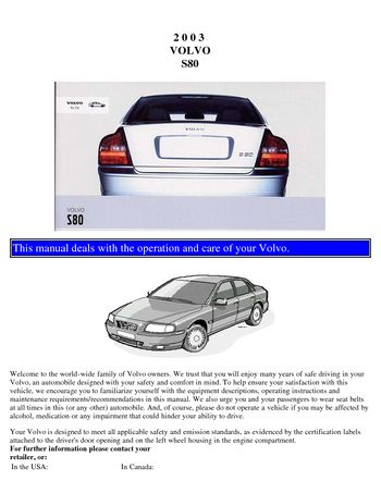 2003 volvo s80 owner s manual pdf 109 pages rh carmanuals2 com user manual volvo s80 owners manual volvo s80 1999