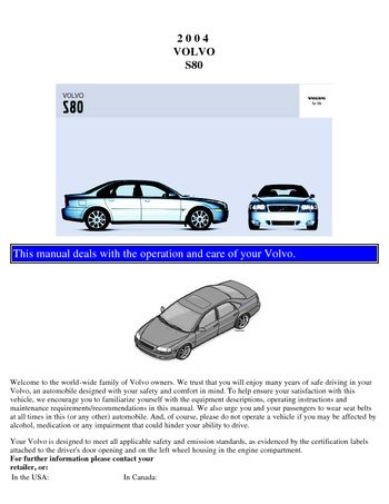 2004 volvo s80 owner s manual pdf 110 pages rh carmanuals2 com 2007 Volvo S80 2003 Volvo S80