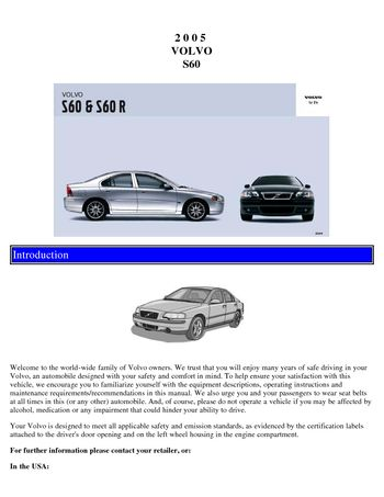 2007 volvo s60 owners manual pdf