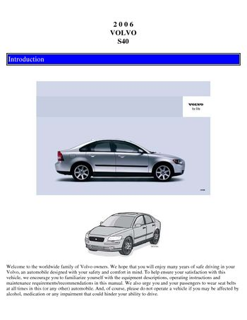 2006 volvo s40 owner s manual pdf 127 pages rh carmanuals2 com Volvo S40 Engine 2006 Volvo S40 2.4I