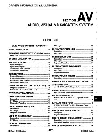 2009 infiniti g37 audio visual system  section av  pdf