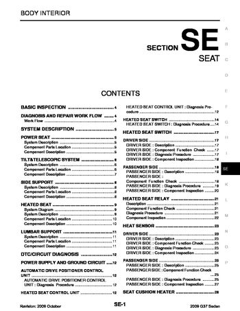 2009 infiniti g37 - seat (section se) (133 pages)