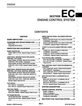 2010 Infiniti G37 Emission Control System Section EC PDF