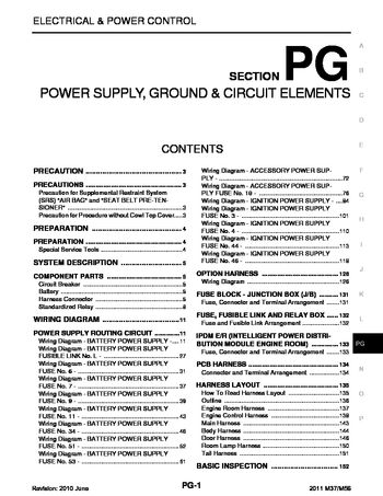2011 infiniti m37 power supply, ground \u0026 circuit elements (section Inifiniti M37x 2011 infiniti m37 power supply, ground \u0026 circuit elements (section pg) (159 pages)