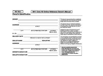 2011 Honda Civic Sedan Owners Manual Pdf
