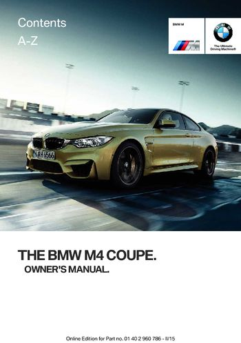 2015 bmw m4 coupe owner s manual pdf 228 pages rh carmanuals2 com owners manual bmw x3 owners manual bmw x3