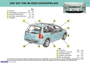 2003 peugeot 307 sw handleiding in dutch pdf handboek 183 pages. Black Bedroom Furniture Sets. Home Design Ideas