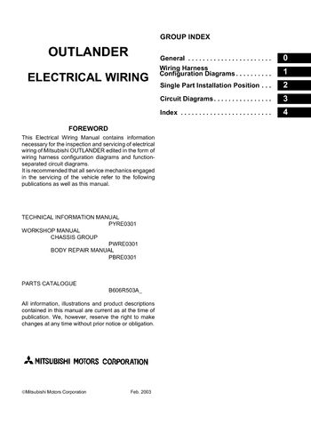 2006 Mitsubishi Outlander Electrical Wiring Diagram PDF Manual