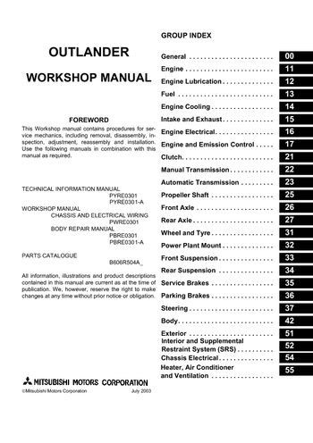 2006 mitsubishi outlander workshop manual pdf 2806 pages rh carmanuals2 com mitsubishi outlander owners manual mitsubishi outlander 2017 owner's manual
