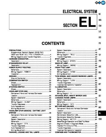 2000 infiniti qx4 electrical system section el pdf. Black Bedroom Furniture Sets. Home Design Ideas