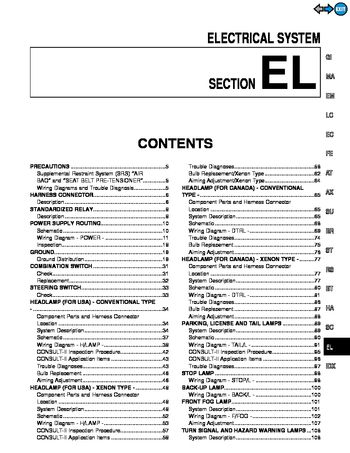 [DIAGRAM_34OR]  2000 Infiniti I30 - Electrical System (Section EL) - PDF Manual (486 Pages) | 2000 Infiniti I30 Wiring Diagram |  | Car Manuals