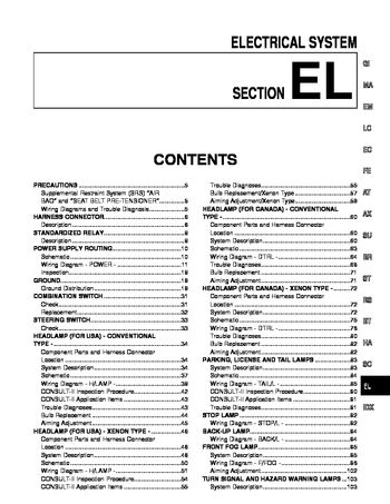 [DIAGRAM_38IU]  2001 Infiniti I30 - Electrical System (Section EL) - PDF Manual (550 Pages) | Infiniti I30 Fuse Box Location |  | Car Manuals