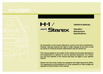 2013 hyundai h 1 grand starex owner s manual pdf 353 pages rh carmanuals2 com manual hyundai h100 manual de taller hyundai h1