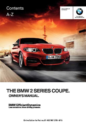 2016 BMW 2 Series Coupe - Owner's Manual - PDF (232 Pages)