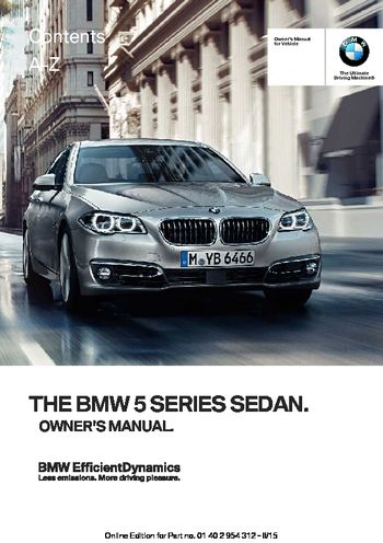 2016 bmw 5 series sedan owner s manual pdf 277 pages rh carmanuals2 com bmw x5 owners manual bmw x5 owners manual 2011