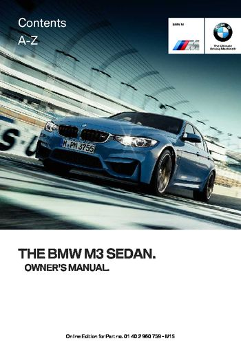 2016 bmw m3 owner s manual pdf 226 pages rh carmanuals2 com e46 m3 owners manual keiser m3 owners manual