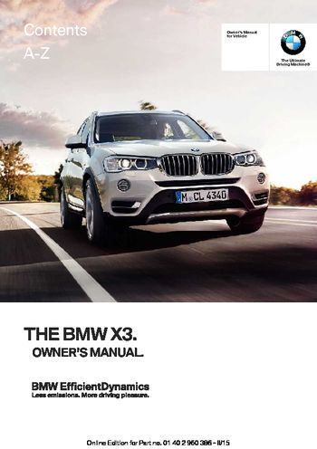2016 bmw x3 owner s manual pdf 257 pages rh carmanuals2 com owners manual bmw 328i convertible owners manual bmw 328i convertible
