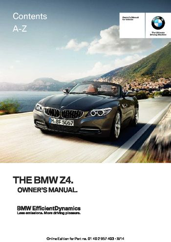 2016 bmw z4 owner s manual pdf 289 pages rh carmanuals2 com bmw owners manuals pdf bmw owners manuals online